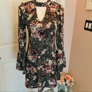 Francesca's dress with bell sleeves and velvet tie